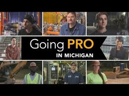 Various pictures of men and women in different careers with the Going Pro in Michigan logo